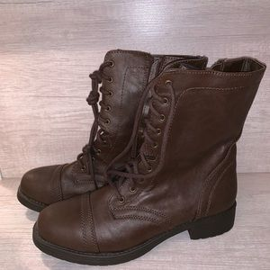 Medium brown combat boots